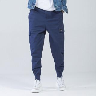富贵鸟(FUGUINIAO)工装裤2019春季新款潮牌束脚裤嘻哈宽松hiphop小脚裤子 蓝色 M