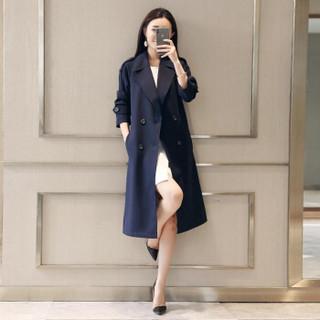 莉夏乐 2019春装新品风衣女装通勤西装领纯色双排扣中长款常规长袖修身涤纶 cchnzMHYM8002 红色 2XL