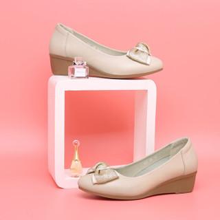 古奇天伦 休闲时尚尖头坡跟低帮套脚蝴蝶结防水台女单鞋子 9107 米色 35