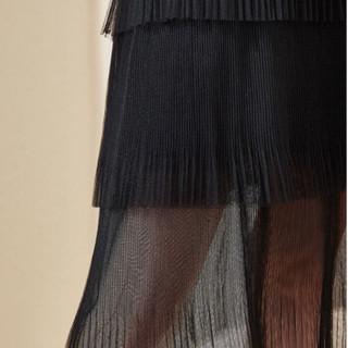她池女装2019春季新款中长款时尚百褶裙网纱裙黑色蛋糕裙半身裙子T91Z0044A10XL 黑色 XL