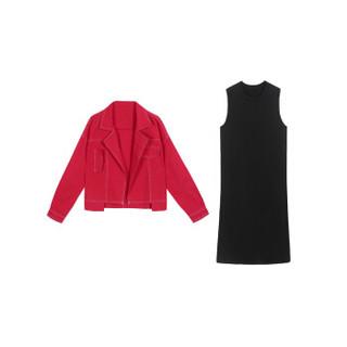 丽乔 2019春季新款连衣裙女长袖休闲短款外套连衣裙两件套装洋气韩版气质潮 HZ4118-83195 红黑色套装 L