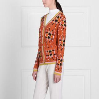 BARRIE 女士CHESSBOXING 系列 长袖羊绒立体提花开衫 橙色/花色 L
