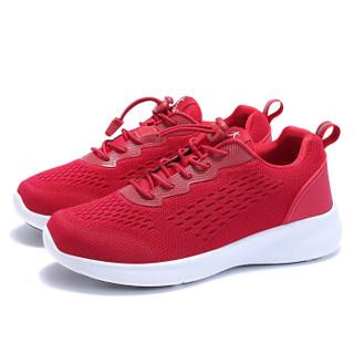 健足乐 轻盈舒适透气女减震防滑耐磨系带妈妈鞋 J911535004 中国红 39