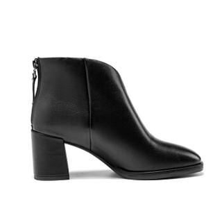 AOKANG 奥康 奥康(Aokang)百搭粗高跟短筒时装女靴18491103939黑色39码