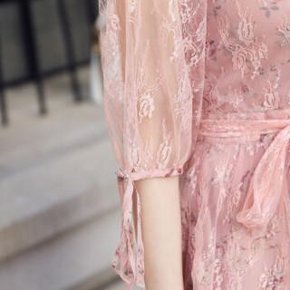 一塘晨秋装新款女淑女网纱纯色圆领大摆中长款连衣裙S81R0293LA26XXL 粉色 XXL