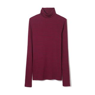 Gap旗舰店 女装 柔软休闲高领柔软莫代尔长袖T恤397448 秋冬装 紫红条纹 XXS