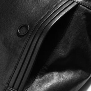 雪豹2019秋冬新品西装翻领中长款皮衣棉服修身绵羊皮超薄植鞣商务西装夹克02028 黑色 52