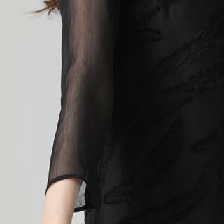 丝柏舍春季新款女装圆领时尚韩版网纱短袖镂空有项链中长款连衣裙 S81T1015LA10L 黑色 L