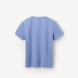 HLA海澜之家短袖T恤男2019夏季新品净色V领舒适套头花纱短T男款HNTBJ2R018A浅蓝(18)170/88A(48)