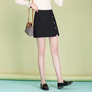 堡晟 2019春季女装新品半身裙休闲百搭不对称单排扣打底裙A字裙短款裙子 HZ2022-7901 黑色 XL
