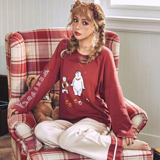 南极人+ 睡衣女2019春夏新款棉质卡通熊圆领套头休闲可外穿睡衣家居服套装 35-2009 红色 XXL码