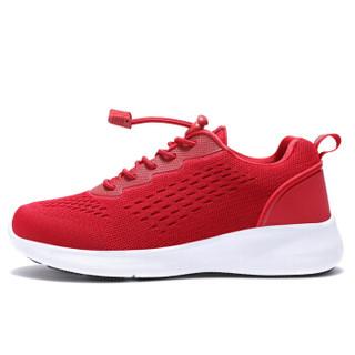 健足乐 轻盈舒适透气女减震防滑耐磨系带妈妈鞋 J911535004 中国红 38
