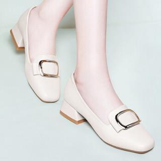 古奇天伦 休闲时尚方头低帮套脚金属装饰休闲防水台女单鞋子 8828 米色 39