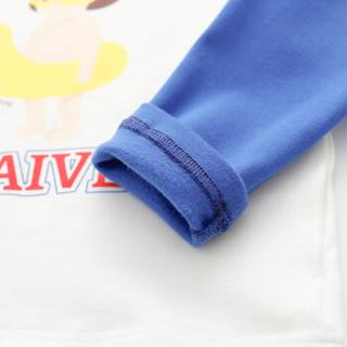 cicie自营童装女童T恤撞色印花套头衫女孩儿童上衣C91058 蓝色 110/52A