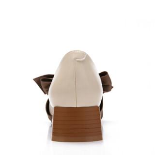 CAMEL 骆驼 女鞋玛丽珍时尚优雅蝴蝶结粗跟休闲套脚 W91514503 米色 36/230码