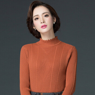 丽乔 2019春季新款针织衫女套头卷边领蕾丝边弹力打底百搭修身毛衣女 FFXMY9506/9507 9506焦糖色 S