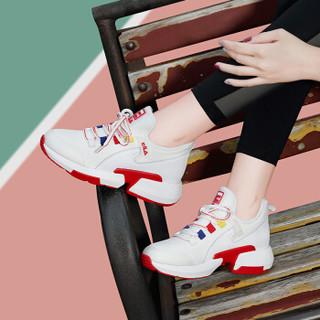 centenary 百年纪念 韩版百搭透气网布系带拼色厚底圆头时尚休闲运动鞋 1846 白红 39