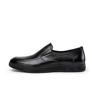 CAMEL 骆驼 男鞋商务正装小牛皮舒适套脚 W912043410 黑色 41/255码