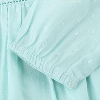 Gap旗舰店 童装 女婴幼童 夏季时尚舒适褶饰短袖连衣裙282010 天空蓝 110CM(4T)