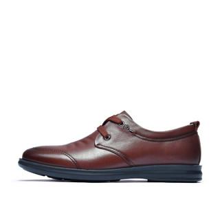 Fuguiniao 富贵鸟 头层牛皮男士休闲鞋低帮潮流舒适百搭系带 A893115 棕色 38