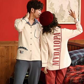 南极人+ 2019年春夏新款情侣睡衣女春季棉质长袖开衫翻领卡通字母休闲家居服套装 35-3002 女款米白色 XL码