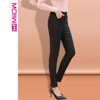 猫人(MiiOW)女裤新款加绒裤弹力舒适休闲打底裤阳离子保暖长裤 M859691 黑色 L