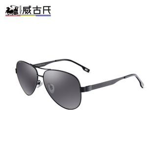 威古氏(VEGOOS)偏光太阳镜男款蛤蟆镜驾驶镜墨镜眼镜 3119 砂黑框灰片