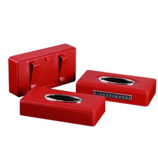 雅皮仕 皮革纸巾盒抽纸盒车载挂式 天窗遮阳板纸抽盒 创意椅背挂式餐巾纸盒 送抽纸 红色