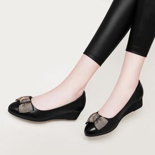 古奇天伦 休闲时尚尖头坡跟低帮套脚蝴蝶结防水台女单鞋子 9107 黑色 36