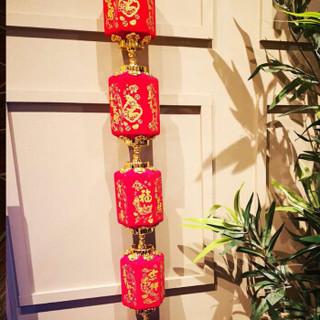福星来新年六角灯笼五连串乔迁入户节庆装饰新年春节元旦户外阳台灯笼 单只装 1.5米高赠挂钩