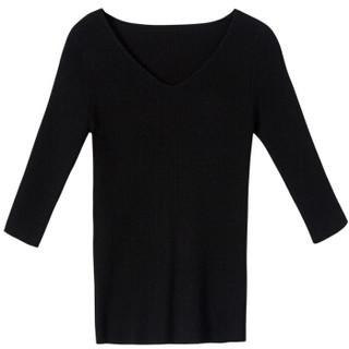 尚都比拉(Sentubila) 2019春季新款修身薄款V领针织衫女七分袖纯色打底毛衣 W73H0116531 黑色 M