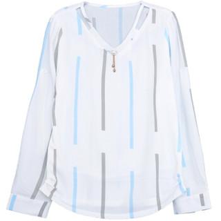 堡晟 2019春季女装新品雪纺衫长袖韩版时尚百搭洋气小衫漏锁骨上衣 HZ2555-9886 天蓝条纹 XL