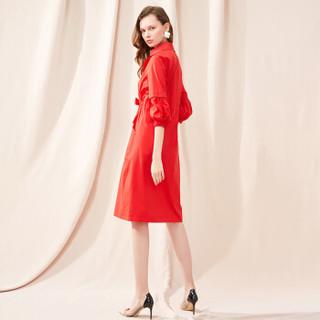 她池女装2019春季新款纯色中长款七分袖收腰系带风衣外套T91Z0130A30L  红色 L
