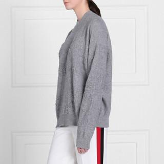 BARRIE 女士BEEHIVE 系列圆领长袖羊绒提花套头衫 灰色 L