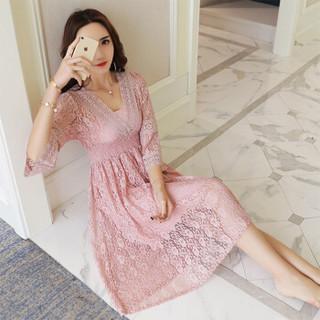丝柏舍年春新款纯色V领韩版修身收腰显瘦七分袖中长款气质蕾丝连衣裙 S81R0452LA26S  粉色 S