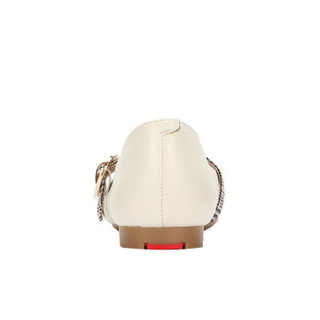 CAMEL 骆驼 女士 复古时尚细格纹宽饰带平底单鞋 A91515667 米色 36