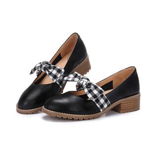 CAMEL 骆驼 女士 甜美格纹蝴蝶结牛皮低跟单鞋 A91027626 黑/花 36