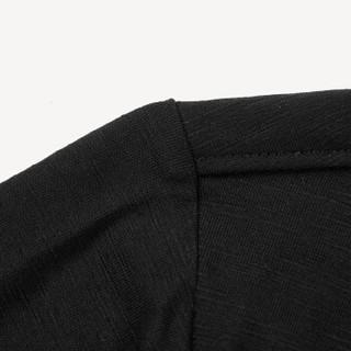 HLA海澜之家短袖T恤男2019夏季新品圆领半开襟净色套头短T男款HNTBJ2R011A黑色(11)170/88A(48)