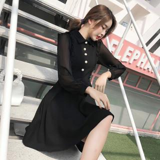 JOY OF JOY 京东女装2019春季新款赫本风chic小黑裙春季修身法式少女复古连衣裙女 JWQZ191174 黑色 XL