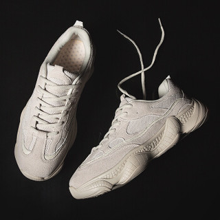 COSO 复古韩版潮流百搭跑步运动休闲鞋子男 K07-C811 米色 40