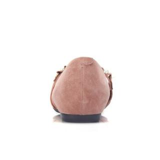 CAMEL 骆驼 女士 舒适魅力荷叶边珠饰尖头单鞋 A91045608 粉色 39