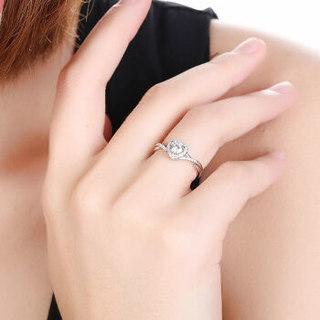 鸣钻国际 心爱 白18k金钻戒女 钻石戒指结婚求婚女戒 情侣对戒女款 共约19分 16号