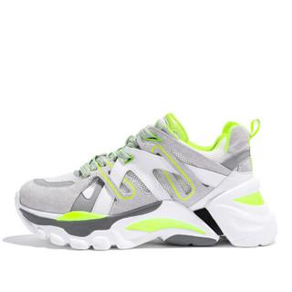 森马 Senma 时尚潮流拼色系带运动休闲韩版户外跑步鞋女 229114204 白绿色 38码