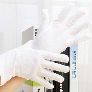四万公里 礼仪白手套 白色纯棉手套 珠宝文玩手套马术交警白色手套检阅表演手套 中厚款12付 SWY8024