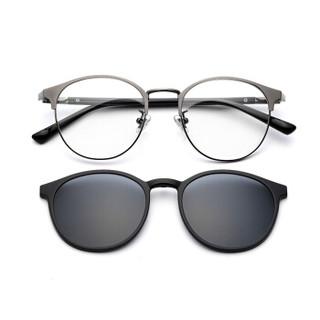 LOHO 偏光太阳镜夹片带磁铁吸附式近视眼镜框架男女款 LHK020 枪色+黑色夹片