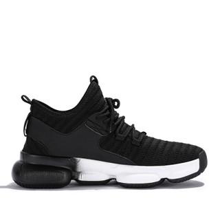 Semir 森马 时尚潮流轻便低帮旅游韩版运动飞织跑步休闲鞋男 219113103 黑白色 40码