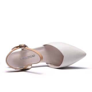 Fuguiniao 富贵鸟 单鞋女士时尚百搭粗跟扣带尖头浅口K99D536C 米色 38
