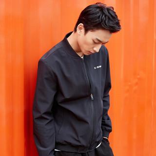 ERKE 鸿星尔克 男装男夹克新款时尚修身保暖防风夹克男上衣 51219108039 正黑 M