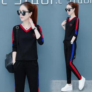 堡晟 2019春季女装新品休闲裤运动服套装韩版时尚学生跑步休闲显瘦两件套 HZ2555-98901 白色 XL