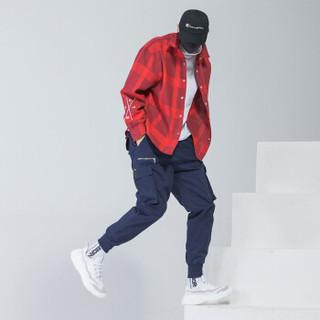 富贵鸟(FUGUINIAO)工装裤男嘻哈裤宽松束脚裤男韩版潮流个性街头小脚裤子 蓝色 XL